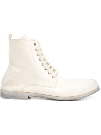women boots lace leather white shoes