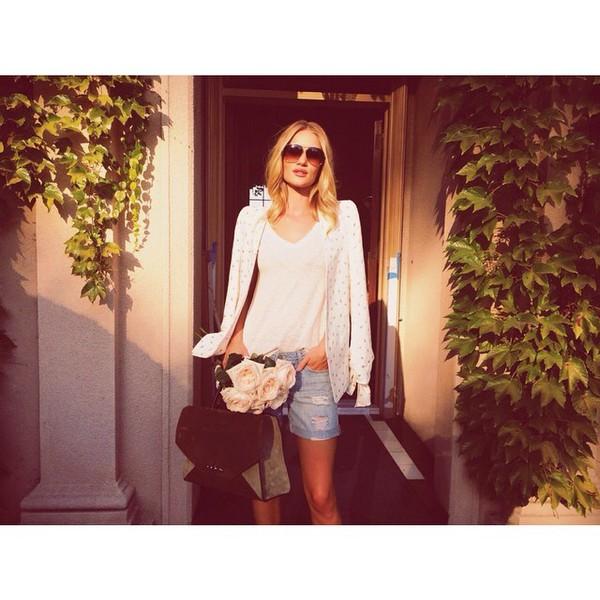 jacket shorts sunglasses bag rosie huntington-whiteley