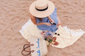 ohsoglam blogger dress shoes bag hat sunglasses summer outfits summer dress straw hat basket bag blue dress