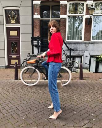 top tumblr red top peplum denim jeans blue jeans shoes pumps pointed toe pumps