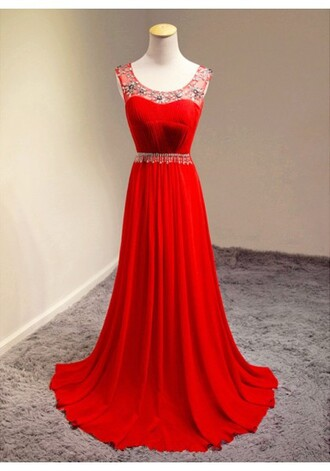 dress red dress long red prom dress red prom dress chiffon dress chiffon prom dress red chiffon dress ruffle elegant prom dress prom dresses 2016 prom gowns scoop neck beaded dress beadding formal dresses red ruffle prom dress