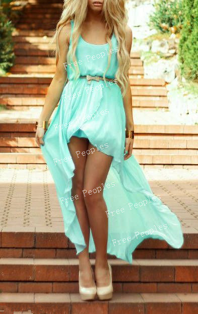 mint green high low prom dresses