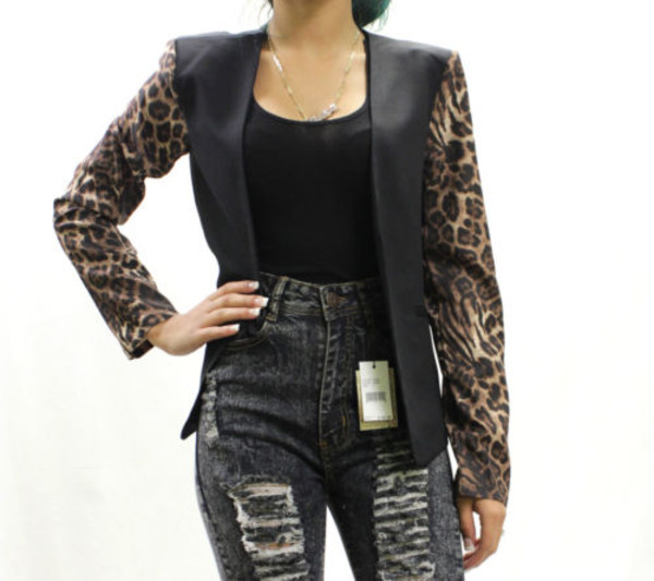 jacket retrolondoncity blazer leopard print