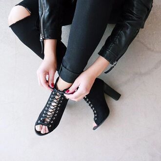 shoes booties boot peep toe edgy moto fashion date outfit casual shopping gojane