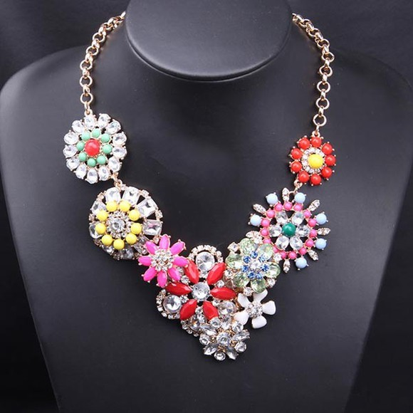 multicolor jewels necklace crystal flower banggood