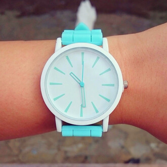 jewels gogo lush watch silicone teal mint minimalist cute adorable clock spring