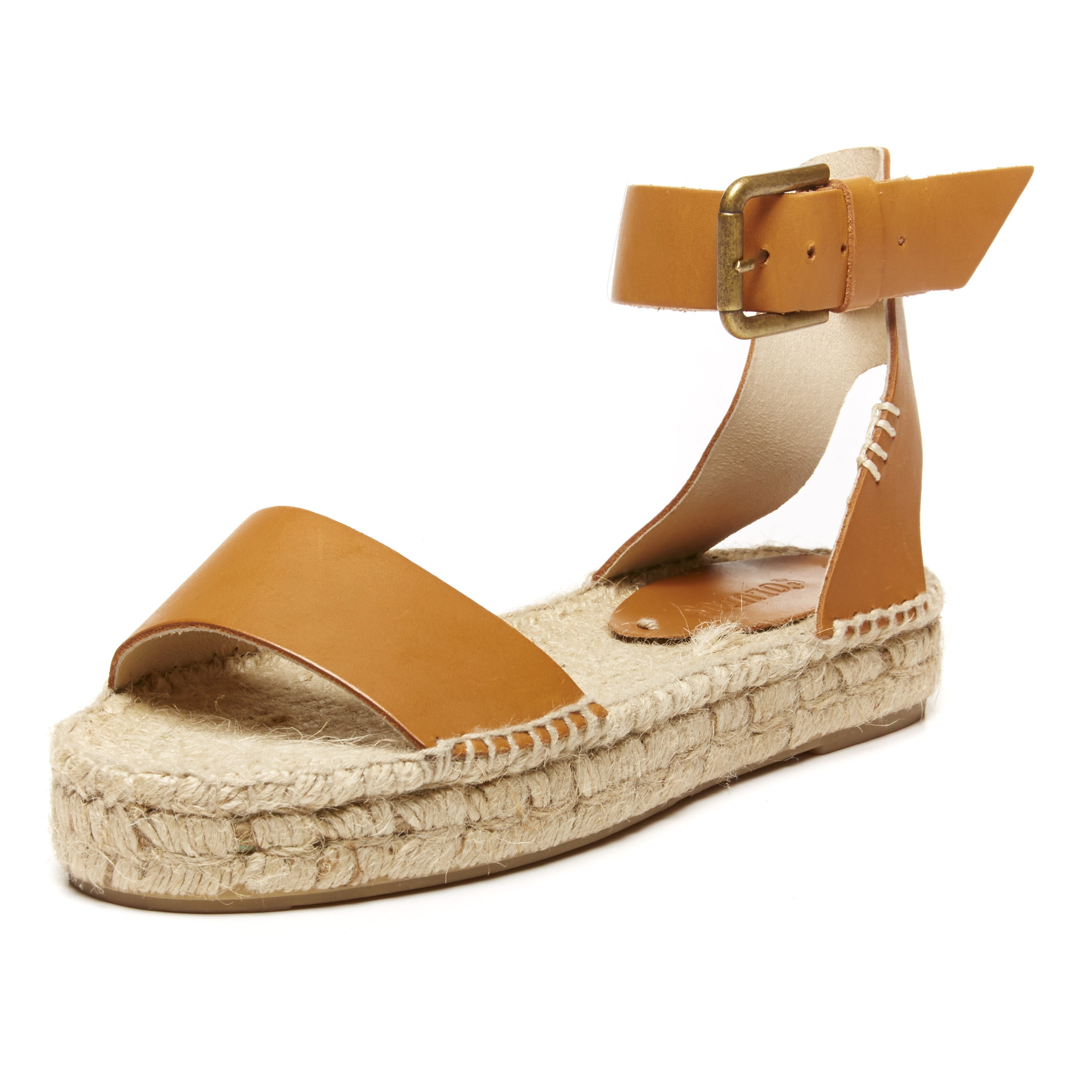 Tan Toe Leather Open Soludos Espadrilles Platform Sandal 7bf6gy