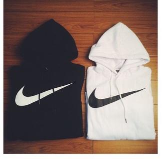 sweater black white nike logo nike swoosh jumpsuit