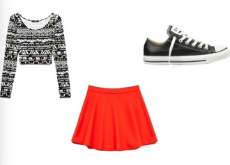 skirt red skirt classy red skirt tribal print top converse high tops