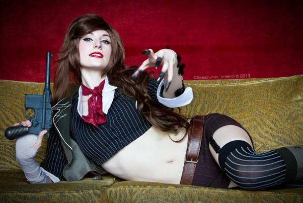 blouse bioshock infinite cosplay booker dewitt jacket pinstripe black crop