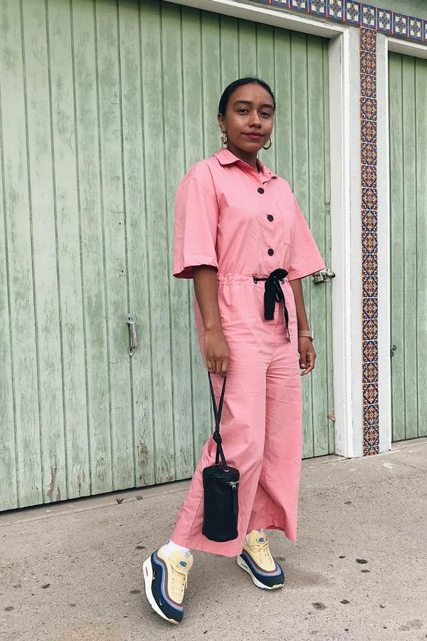 jumpsuit pink pink jumpsuit bag sneakers black dress