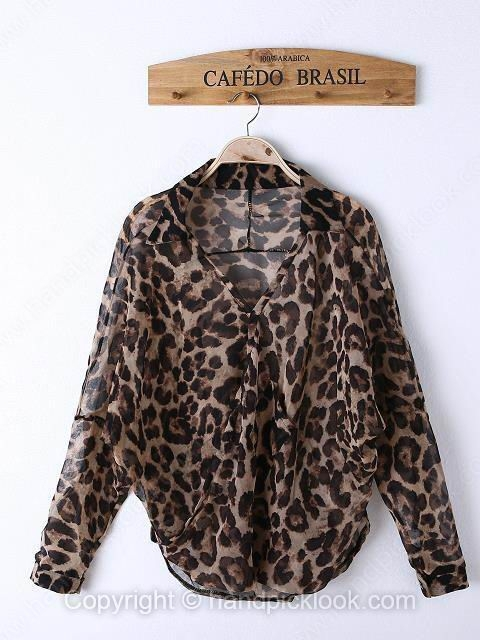 Leopard Lapel Long Sleeve Draped Blouse - HandpickLook.com