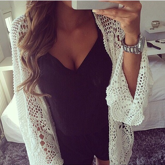 tank top black tank top black white cardigan top white cardigan black top
