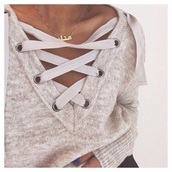 sweater,top,we heart it pull,fall sweater,lace up,beige,cream,blouse,swaeter,pullover,necklace,lovely,cute,arabic,winter outfits,winter sweater,lace up jumper,grey sweater