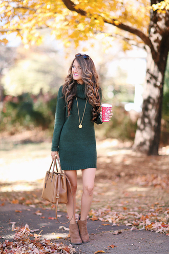 southern curls and pearls blogger sweater dress bag jewels sunglasses shoes make-up turtleneck dress sweater dress knitted dress green dress fall outfits fall dress handbag ankle boots knitted mini dress