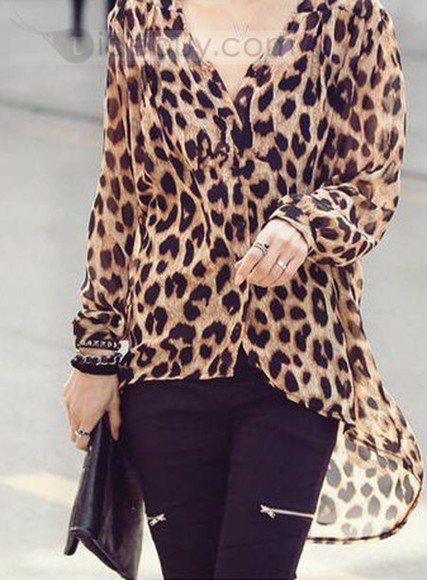 blouse chiffon bag jewels tbdress-club tbdress leopard print