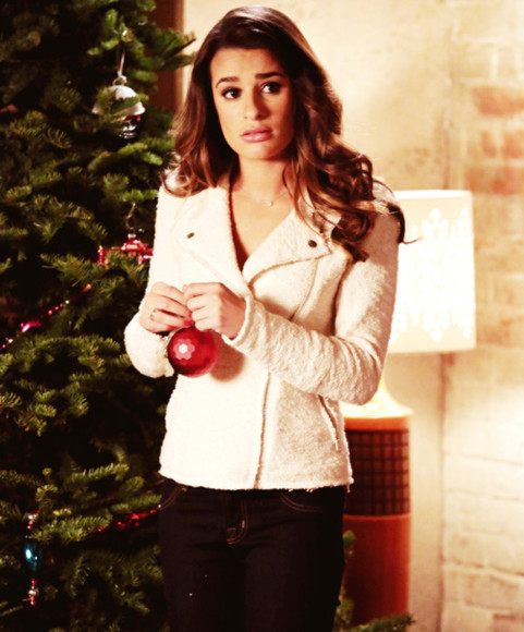 glee lea michele jacket christmas