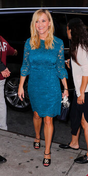 dress,lace dress,reese witherspoon,midi dress