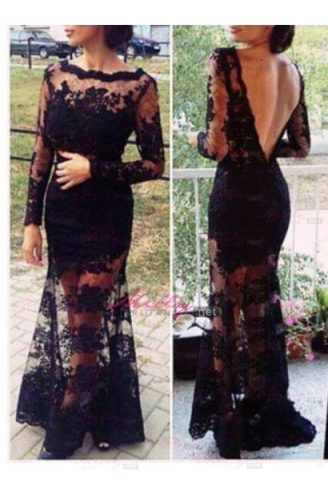 Buy new look floor length mermaid/trumpet black prom dress at millybridal.net