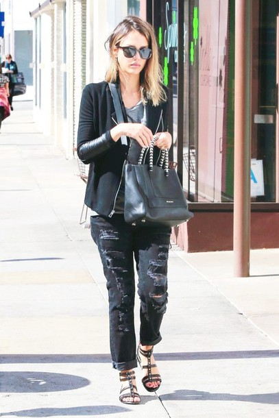 jeans ripped jeans jessica alba sandals jacket