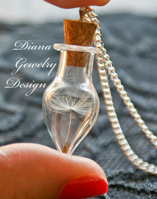 Dandelion necklace, wish, wish bottle , good luck, personalized jewellery , gift for bride, bridesmaids