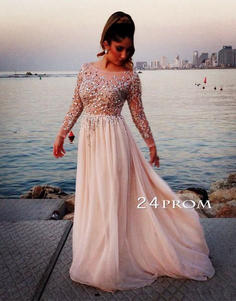 A-line Round Neck Long Sleeves Sequin Long Prom Dresses, Formal Dresses - 24prom