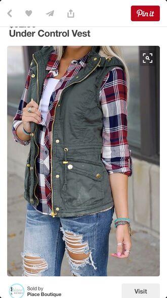 jacket army green cargo vest