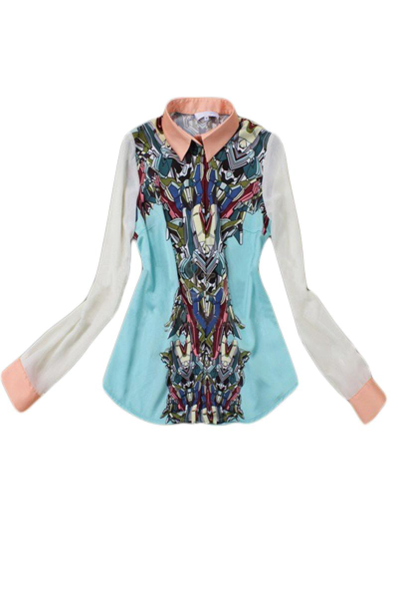New Robot Fashion Printing Lapel Long Sleeve Shirts,Cheap in Wendybox.com