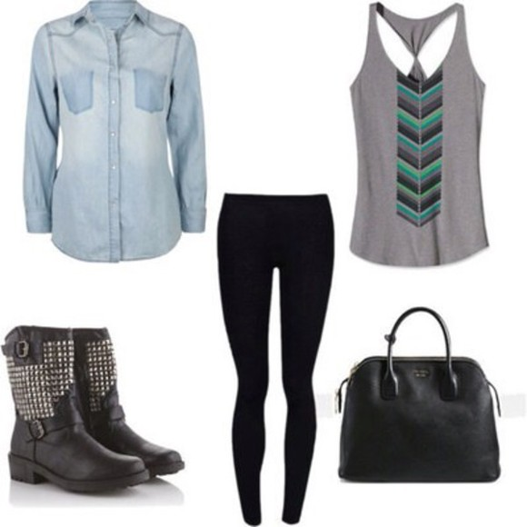 leggings black leggings black top jeans denim jacket aztec t-shirt tank top shoes ankle boots black ankle boots bag handbag shirt dress