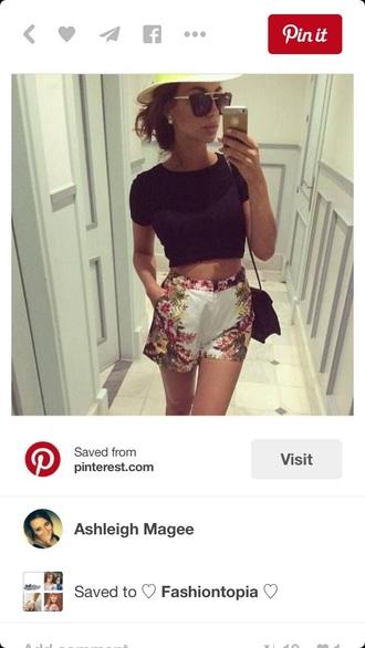 shorts high waisted shorts fashion style flowered shorts flowers white shorts summer shorts