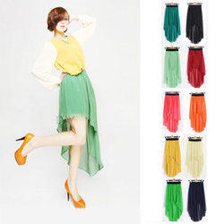 Fashion 2013 women's high low dovetail skirt solid color girl's elastic irregular pleated chiffon bust skirt free shipping-inSkirts from Apparel & Accessories on Aliexpress.com