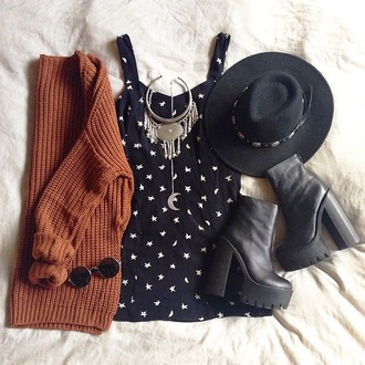 hat panama hat hat with band necklace jewels moon stars boots platform boots leather boots black boots dress sweater rust