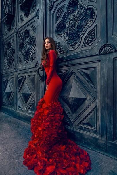 Elegant Red Long Sleeve Dresses