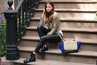 fashion vibe blogger jacket bag t-shirt leather pants ankle boots khaki cut out ankle boots celine celine trapeze