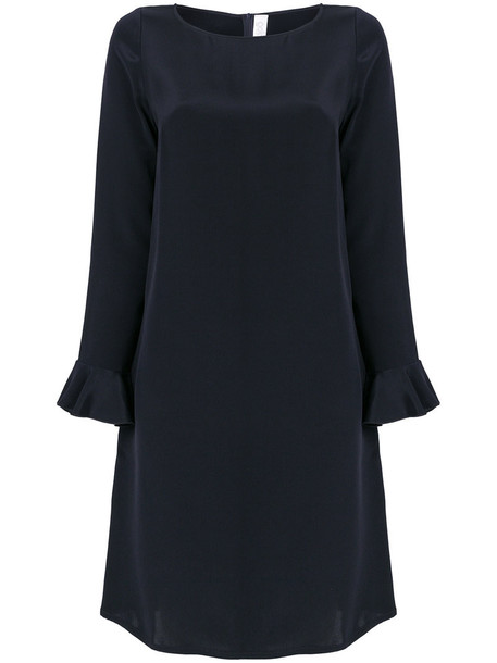 dress shift dress women blue silk