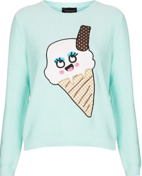 girly mint fashion jumper ice cream kawaii fall sweater fall outfits cute teenagers funny