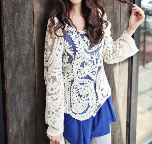 Kourtney long sleeve crochet lace top from doublelw on storenvy