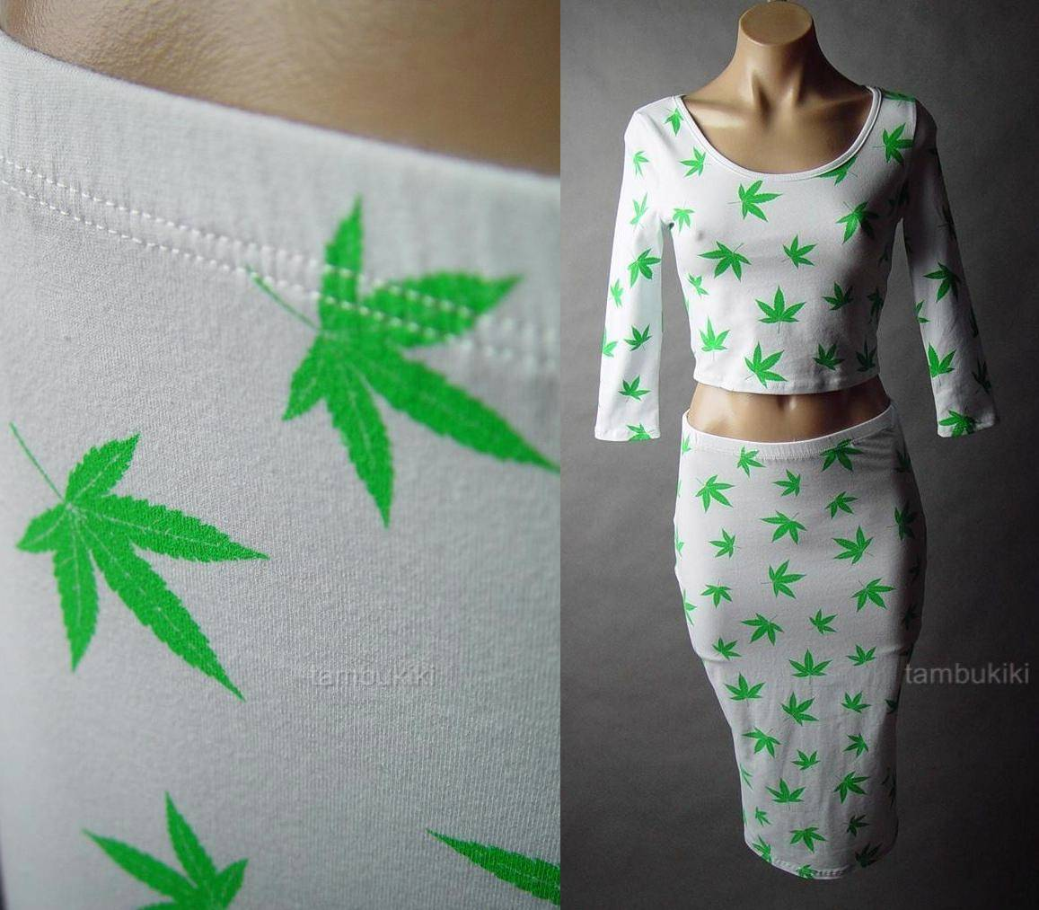 Marijuana Weed Cannabis Ganja Leaf Print Crop Top Pencil Skirt 48 MV Set s M L | eBay