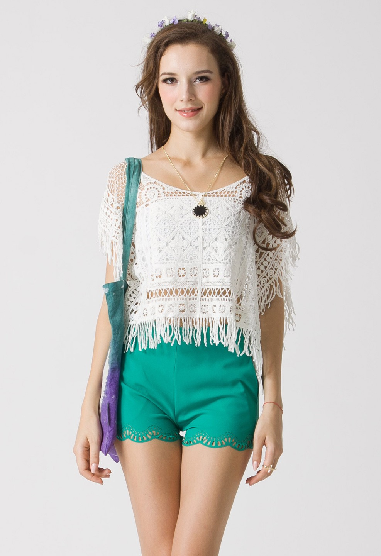 46a2711b5c854c Crochet Fringe Crop Top - Retro
