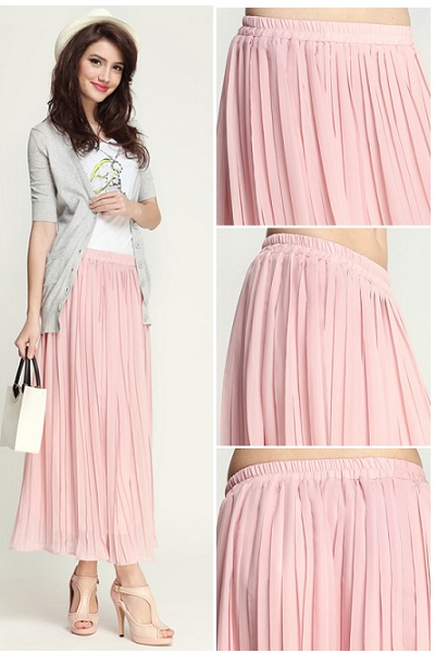 IODRE0815) Pink Pleated Maxi Skirt, iAnyWear