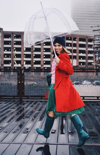mysmallwardrobe blogger coat sweater skirt shoes scarf bag red coat spring outfits wellies