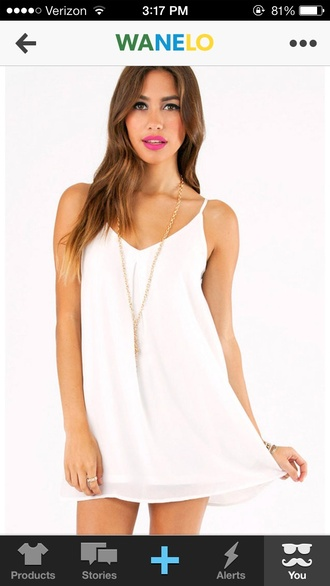 dress white shift shift dress wanelo party weekend cute jewels