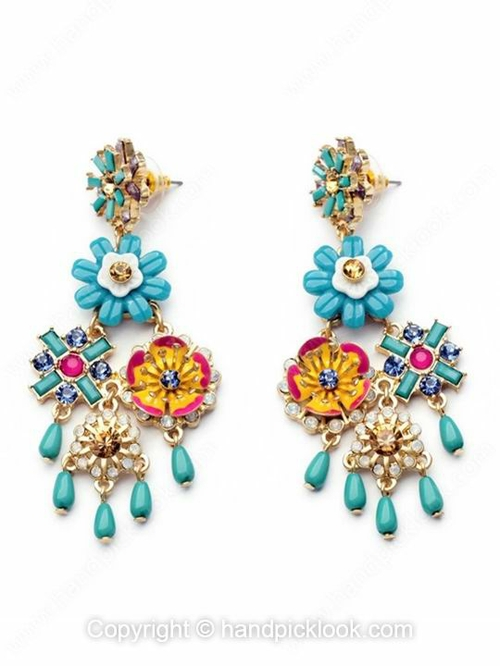 Blue Crystal Gold Flower Earrings - HandpickLook.com