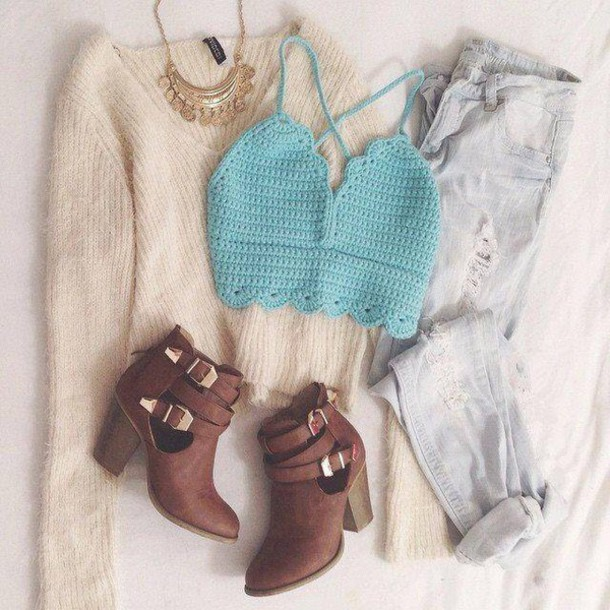 sweater top jeans Back From Bali Womans  Hand Crochet  Bustier Tank Top shoes