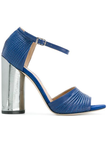 Marc Ellis heel metallic women sandals leather blue shoes