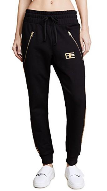 Baja East pants drawstring pants zip drawstring gold black