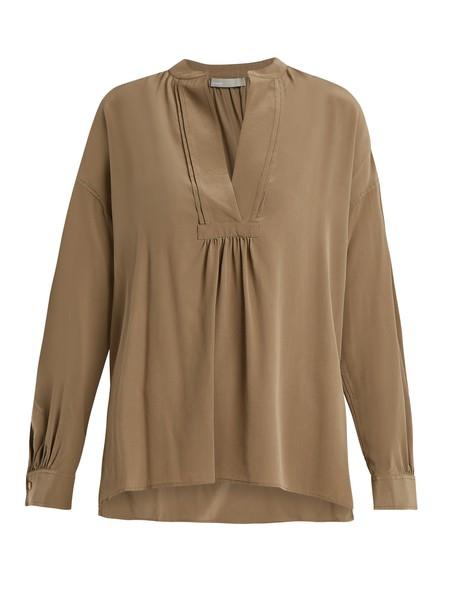 Vince blouse long silk khaki top