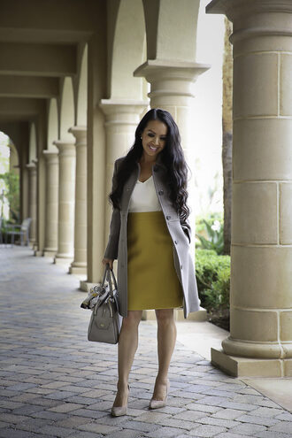 stylish petite blogger shoes scarf jewels fall outfits handbag grey coat pumps skirt top