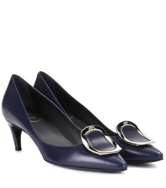 sexy pumps leather blue shoes