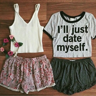 shorts floral skirt floral shorts with crop tops quote on it
